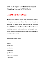 2009 2010 toyota corolla service repair manual download