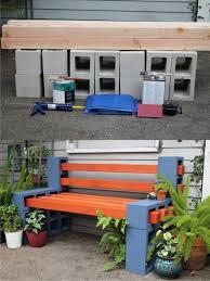 Diy Patio Bench by Diy Outdoor Bench From Concrete Blocks U0026 Wooden Slats Silicone