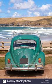 volkswagen beetle 1960 a classic 1960 u0027s vw beetle car overlooking the beach at polzeath