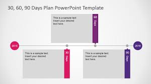 flat design powerpoint timeline diagram for 30 60 90 days plan