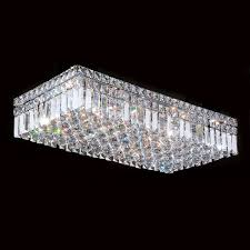 Crystal Ceiling Mount Light Fixture by Cascade Collection 6 Light Chrome Finish And Clear Crystal Flush