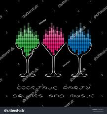 cocktail party template glasses equalizer musical stock vector