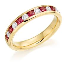 ruby eternity ring 18 carat yellow gold ruby diamond half eternity ring