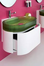 furniture modern wall mounted bathroom vanity with glass sink and