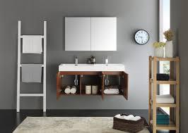 fresca mezzo 48 inch teak wall mounted double sink modern bathroom