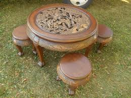 hand carved coffee table vintage rare oriental chinese japanese hand carved coffee table