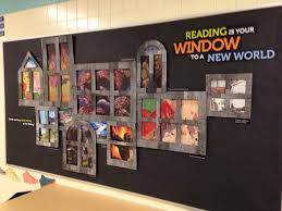 book display reading bulletin board idea window frames over posters pic only