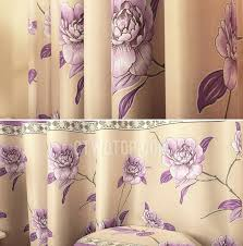 Lavender Blackout Curtains Color Floral Patterned Ready Made Blackout Curtains