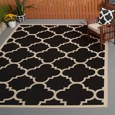 Safavieh Outdoor Rugs Safavieh Courtyard Quatrefoil Black Beige Indoor Outdoor Rug