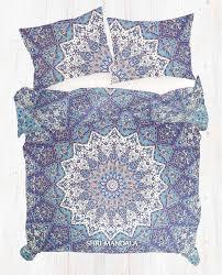 blue elephant star bohemian duvet cover set with matching pillow
