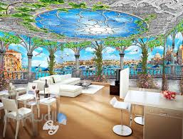 ceiling wall murals idecoroom 3d flower vine pegola blue sky ceiling wall murals wallpaper art print decor idcqw 000361