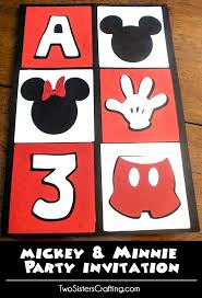 mickey mouse party invitations sisters crafting