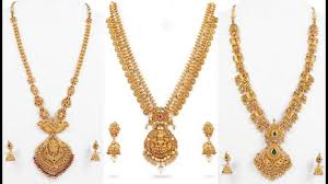 long necklace designs images Latest gold long haram designs with weight jpg