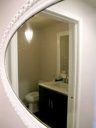 bathroom reflection in round mirror buff beauty