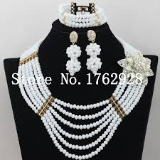 white crystal necklace set images White crystal bead charming nigerian traditional wedding african jpg