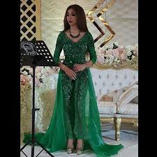 jumpsuits for evening wear evening dresses 2016 yousef aljasmi green jumpsuit sleeve v