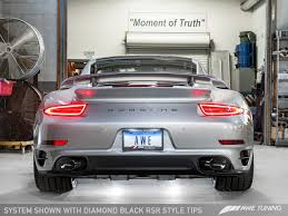 stanced porsche 911 porsche 911 turbo and turbo s receive awe tuning exhaust