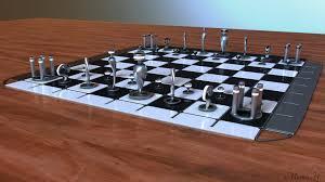 Modern Chess Table Marius Popa Modern Chess Set
