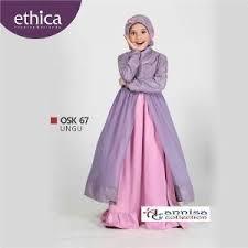 dress anak baju gamis pesta anak ethica osk 67 ungu sewing