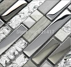 aliexpress com buy grey with stainless steel glass mosaic