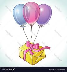 balloons gift happy birthday card with balloons and gift vector image