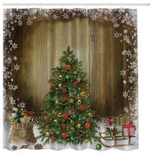 morethancurtains vintage christmas tree with presents on brown