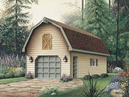 mother earth news 1 car garage with loft gambrel roof e plan