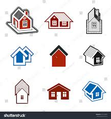 different houses icons use graphic design stock illustration
