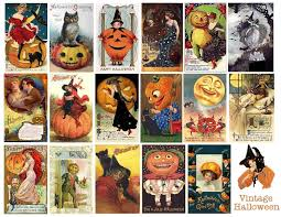 free vintage printable halloween collage sheet 300 dpi