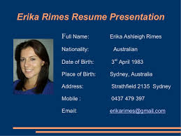 Resume Powerpoint Template Erika Rimes Resume Powerpoint