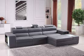 Grey Sofa Living Room Polaris Mini Contemporary Grey Bonded Leather Sectional Sofa