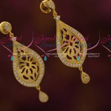 stylish gold earrings er7328 gold plated stylish glossy finish cz earrings