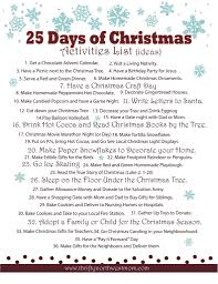 celebrating the 25 days of christmas activities list christmas