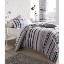 catherine lansfield knitted stripe blue duvet set catherine