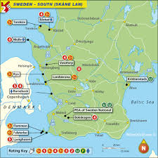 map of sweden sweden south skane lan map with top golf courses and best golf