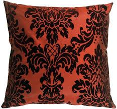 Red Decorative Pillow Flocked Velvet Damask Red Throw Pillow From Pillow Decor