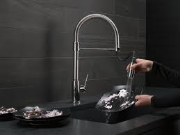 Single Handle Pull Down Kitchen Faucet by Delta Trinsic Single Handle Pull Down Kitchen Faucet With Spring