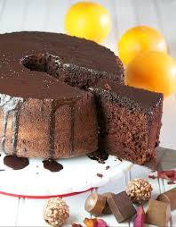 chocolate chiffon cake with orange chocolate glaze woman scribbles