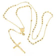 gold rosary solid 14k yellow gold rosary bead necklace 4mm 26in