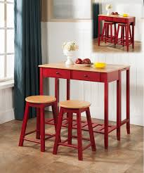 red pub table and chairs 3 piece white marble or red natural wood kitchen dinette