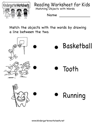 collections of free printable kindergarten reading worksheets