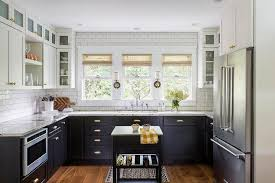 black lower kitchen cabinets white black lower cabinets with brass cup pulls transitional