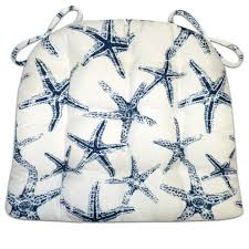 Navy Blue Patio Chair Cushions Sea Shore Starfish Navy Blue Indoor Outdoor Dining Chair Pads