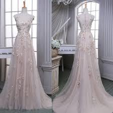 elegant prom dress champagne a line v neck dress with flowers