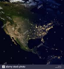 North America World Map by City Lights On World Map North America Stock Photo Royalty Free