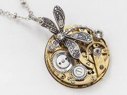 swarovski crystal stone necklace images Steampunk necklace gold pocket watch movement with silver jpg