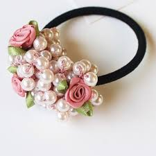 ponytail holder bracelet elastic hair rings ties flowers pearl hair ponytail holders