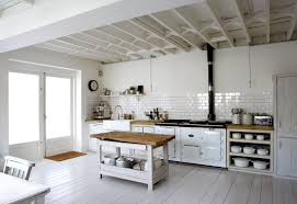 rustic country kitchen decor with all white furniture and wall