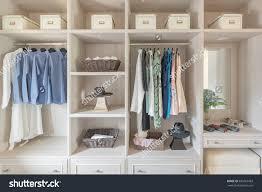Wardrobe Design Modern Wooden Wardrobe Clothes Hanging On Stock Photo 485067463