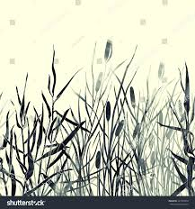 silhouettes river reeds japanese minimalism hand stock